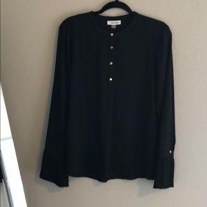 NWT Calvin Klein Black Workwear Blouse Large